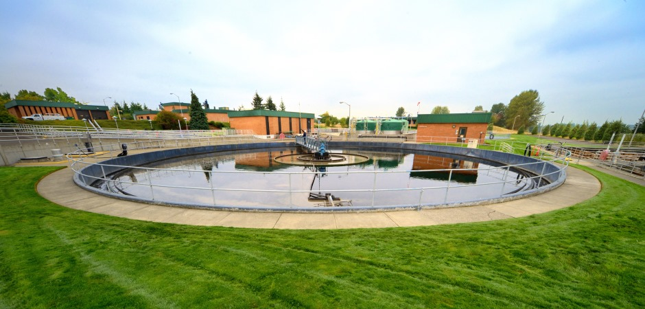A secondary clarifier at Gresham's Wastewater Treatment Plant.