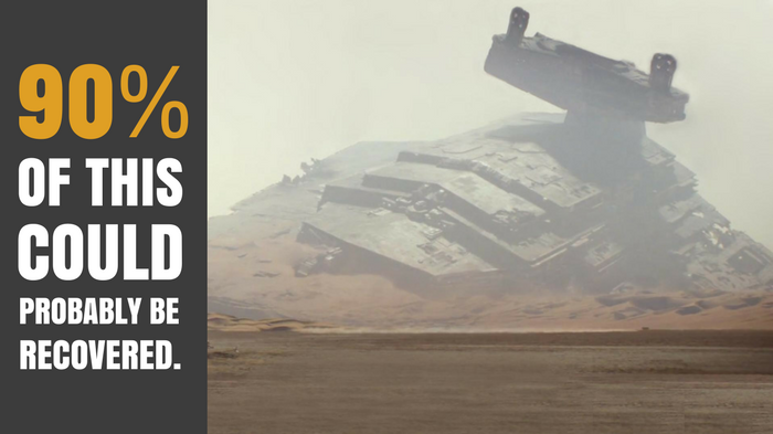 Star Destroyer crash landed in the desert of the planet Jakku.