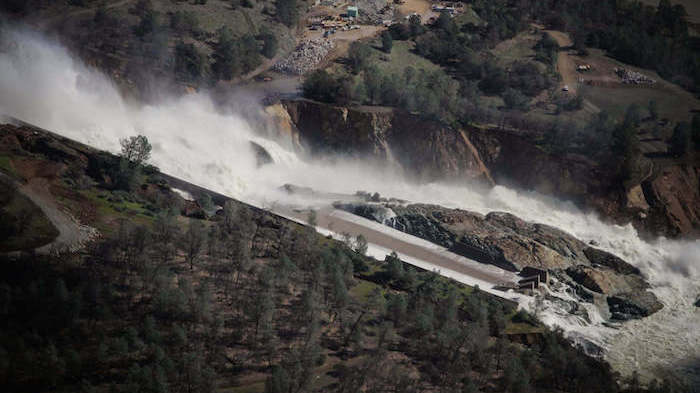 Aerial view of the Oroville Dam flooding.