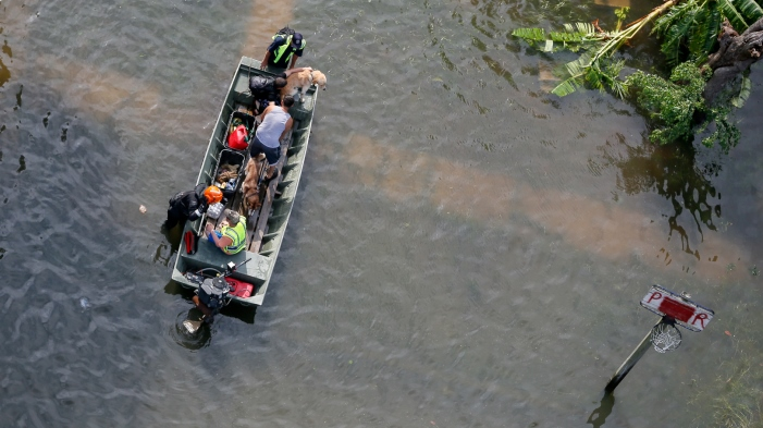 Aerial view of rescue boat during Hurricane Harvey flooding.